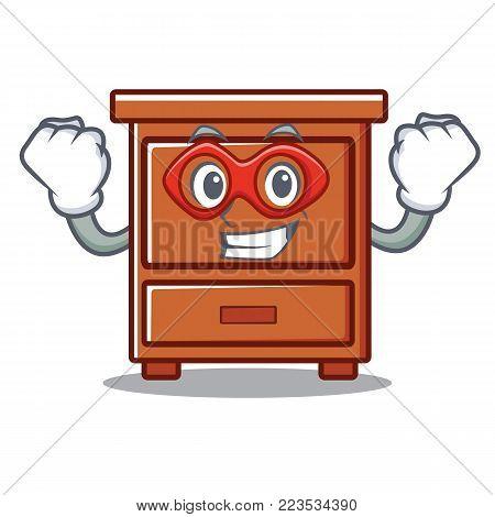 Super hero wooden drawer character cartoon vector illustration