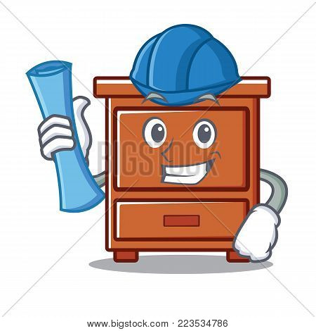Architect wooden drawer character cartoon vector illustration