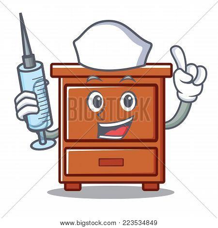 Nurse wooden drawer character cartoon vector illustration