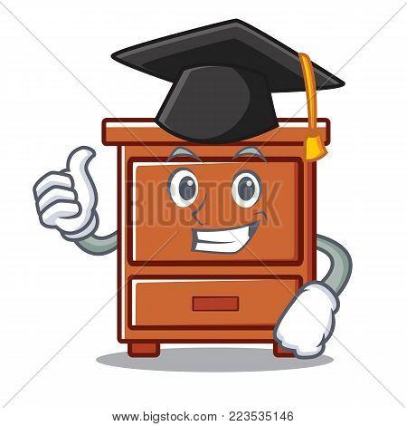 Graduation wooden drawer character cartoon vector illustration