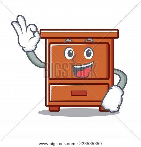 Okay wooden drawer character cartoon vector illustration