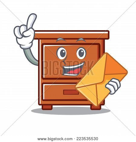 With envelope wooden drawer character cartoon vector illustration