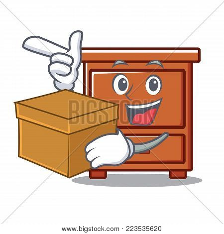 With box wooden drawer character cartoon vector illustration
