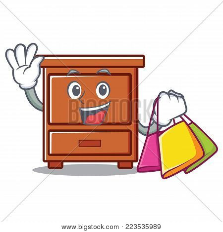 Shopping wooden drawer character cartoon vector illustration