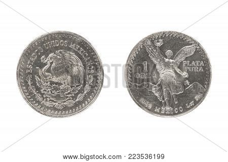 Mexico silver coin 1oz 1982 isolated white background