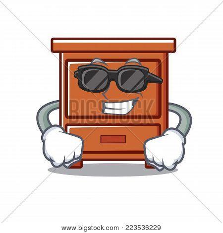 Super cool wooden drawer character cartoon vector illustration