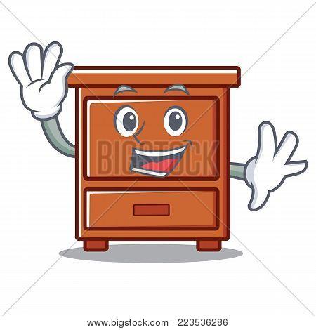 Waving wooden drawer character cartoon vector illustration