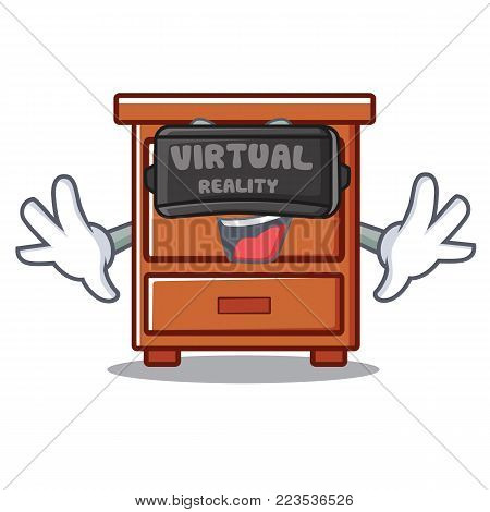With virtual reality wooden drawer mascot cartoon vector illustration