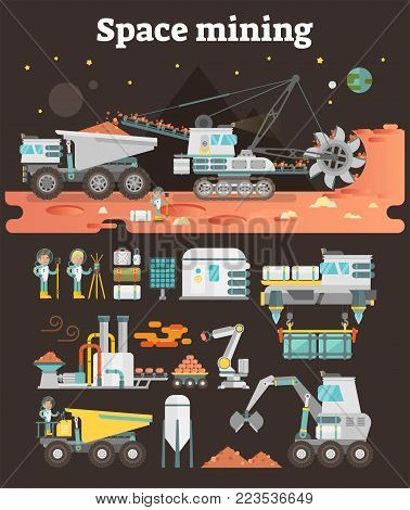 Space asteroid mining concept illustration with set of machinery, buildings, people and equipment as infographic assets