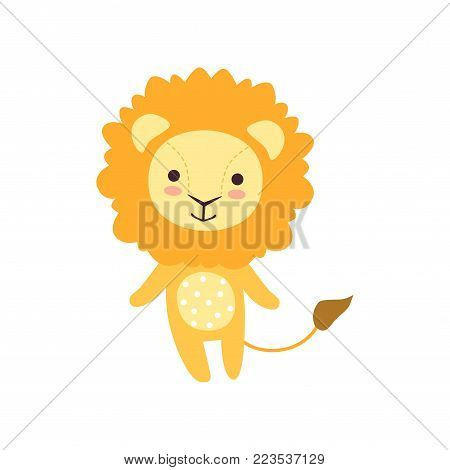 Cute soft lion plush toy, stuffed cartoon animal vector Illustration on a white background