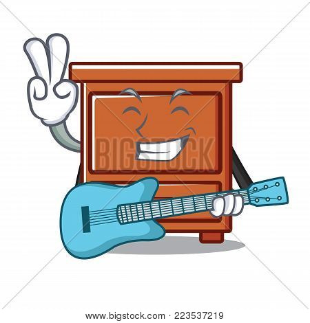 With guitar wooden drawer mascot cartoon vector illustration