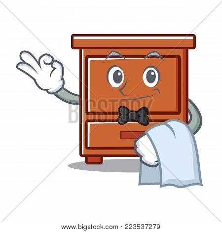 Waiter wooden drawer mascot cartoon vector illustration