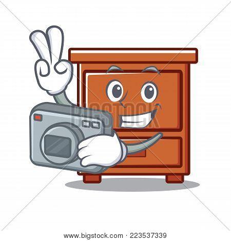 Photographer wooden drawer mascot cartoon vector illustration