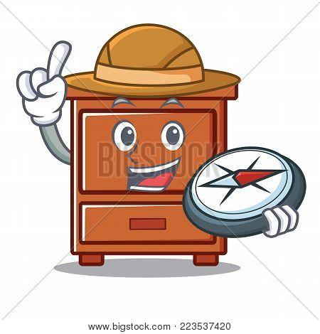 Explorer wooden drawer mascot cartoon vector illustration
