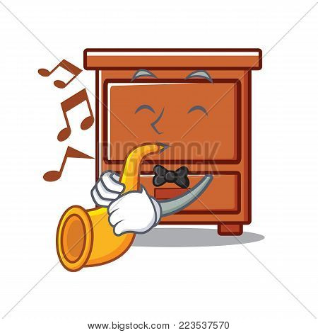 With trumpet wooden drawer mascot cartoon vector illustration