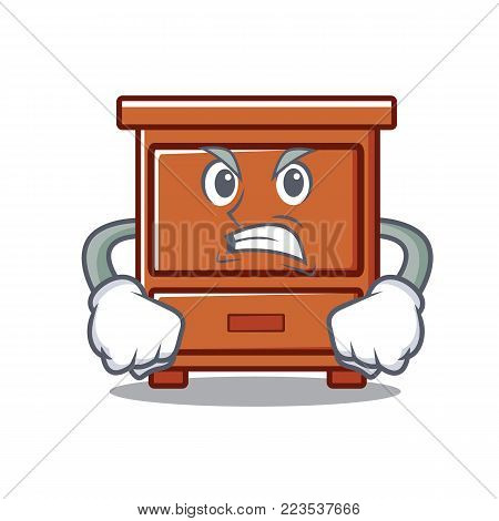 Angry wooden drawer mascot cartoon vector illustration