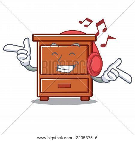 Listening music wooden drawer mascot cartoon vector illustration