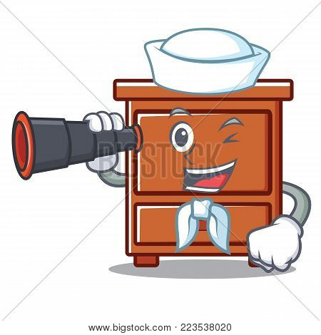 Sailor with binocular wooden drawer mascot cartoon vector illustration