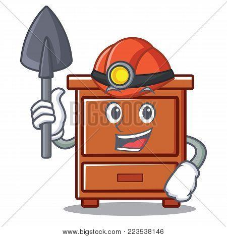 Miner wooden drawer mascot cartoon vector illustration