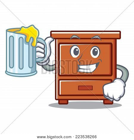 With juice wooden drawer mascot cartoon vector illustration