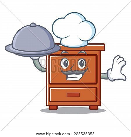 Chef with food wooden drawer mascot cartoon vector illustration