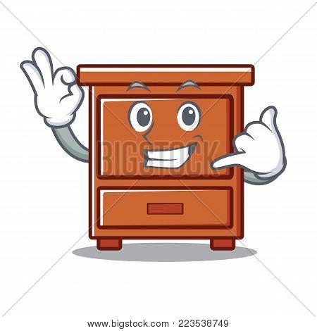 Call me wooden drawer mascot cartoon vector illustration