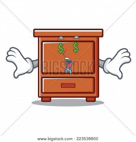 Money eye wooden drawer mascot cartoon vector illustration
