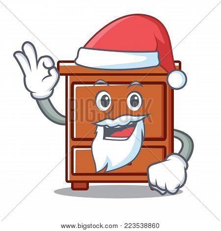 Santa wooden drawer mascot cartoon vector illustration