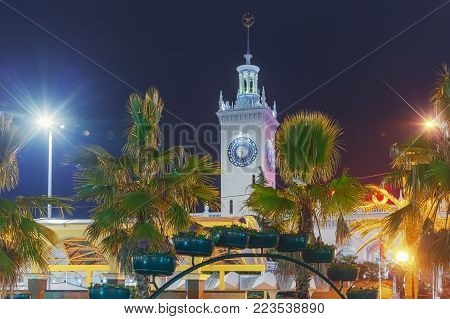 SOCHI, RUSSIA - JANUARY 11, 2018: Clock tower of the railway station