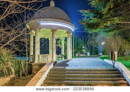 SOCHI, RUSSIA - JANUARY 7, 2018: Rotunda in the evening illumination