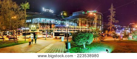 SOCHI, RUSSIA - JANUARY 11, 2018: Night illumination of the city center