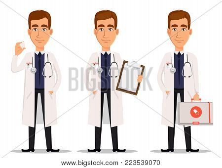 Young professional doctor, set with model of tooth, with clipboard and with first aid kit. Medical worker. Hospital staff. Cartoon character on white background. Vector illustration.