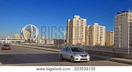 ASHGABAT, TURKMENISTAN, January 25, 2017:  Modern architecture of Ashgabat.  View of the modern district. ASHGABAT, TURKMENISTAN, January 25, 2017.