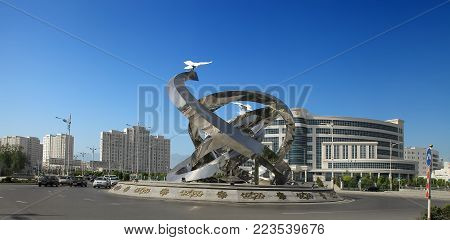 ASHGABAT, TURKMENISTAN, April 19, 2017.  Modern architecture of Ashgabat.  Ashgabat capital of Turkmenistan. ASHGABAT, TURKMENISTAN, April 19, 2017.