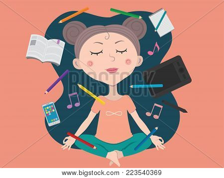 Cute girl meditating in search of inspiration and imagination, different levitating objects, pencils and graphic tablet, smartphone and book, notes.