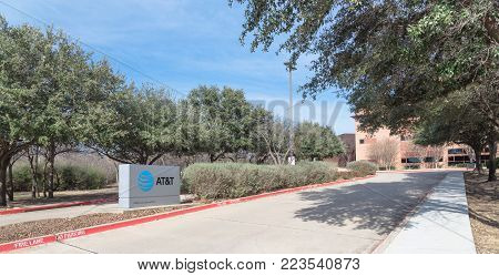 IRVING, TX, US-JAN 20, 2018:Entrance to AT T Inc. Training Campus, Center For Learning. American multinational conglomerate holding, world largest telecommunications base in Dallas, Texas. Panorama