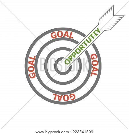 concept of achieving the goal using your opportunities vector target and arrow marketing Icon, words opportunity and goal