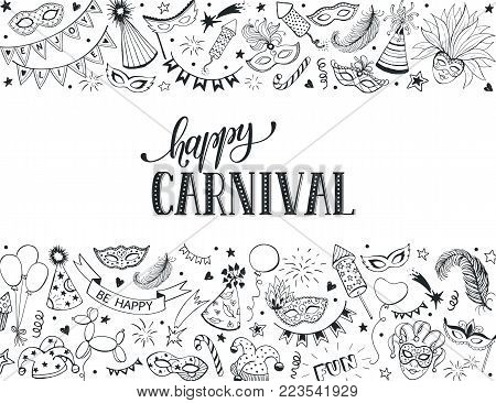 Horisontal carnival vector composition isolated on white background. Hand drawn carnival objects in line art style. Doodle masquerade masks, feathers, firecrackers. Mardi grass traditional symbols.