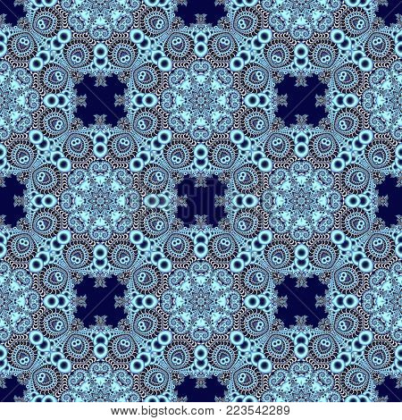 Seamless openwork pattern in the form of snowflakes or lace napkins. Artwork for creative design, art and entertainment.
