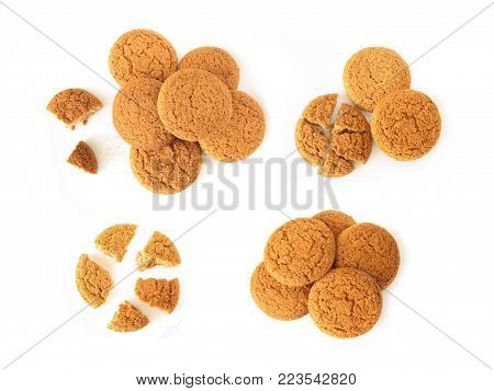 image of oatmeal cookies isolated on white background