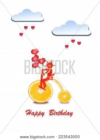 Creative birthday concept photo of paper clouds with hearts and cat made of fruits on white background.