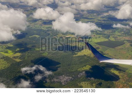 Airplane passenger view looking at topography of Minas Gerais, Brazil