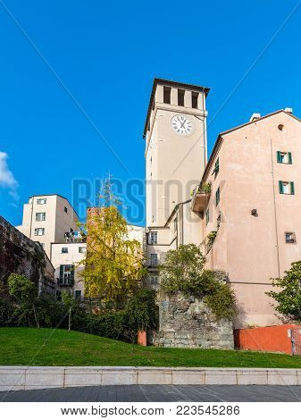 Savona, Italy - December 2, 2016: View of the Brandale Tower (The Torre del Brandale) in Savona, Liguria, Italy. This is the tower where the freedom declaration of Savona was signed in 1191.