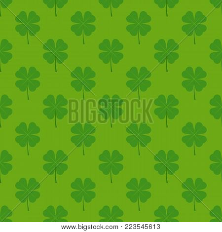 Seamless Pattern with Four Leaf Clover in Flat Style on a Green Background