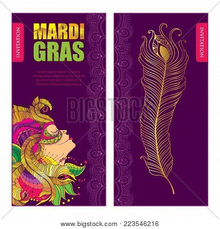 Vector invitation for Mardi Gras party with woman face in carnival mask with outline golden peacock feathers, ornate collar and beads on the violet background. Design for Mardi Gras in contour style.