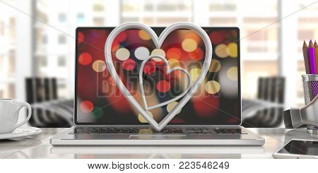 Valentine's Day. White Attached Hearts On A Computer, Blur Office Background. 3D Illustration