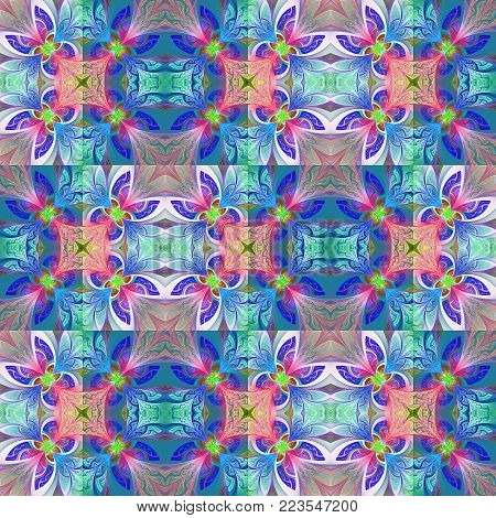 Two-tone seamless flower pattern in stained-glass window style. You can use it for invitations, notebook covers, phone case, postcards, cards, wallpapers and so on. Artwork for creative design, art and entertainment.