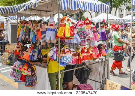 Belo Horizonte, Brazil - Dec 23, 2017: Ventriloquist toys for sale on display at a street market in Belo Horizonte, Brazil