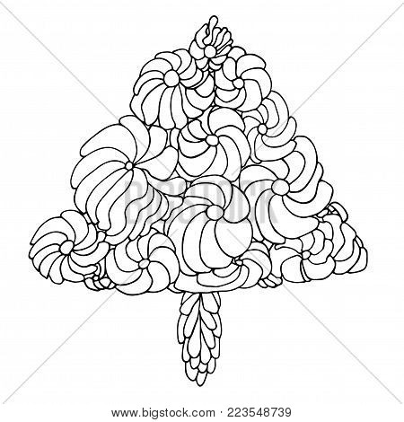 Ornamental Christmas tree with swirl pattern. Artistic hand made vector illustration. Happy new year coloring page