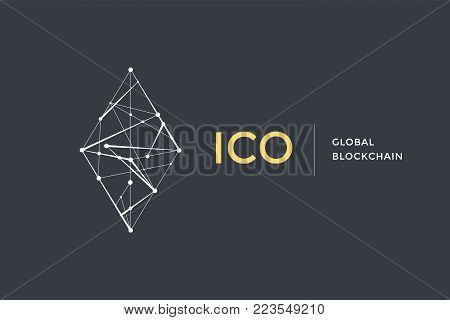 Template logo for blockchain technology. Circle with connected lines for brand, logo, logotype of smart contract block symbol. Design for decentralized transactions and cryptocurrencies network. Vector Illustration